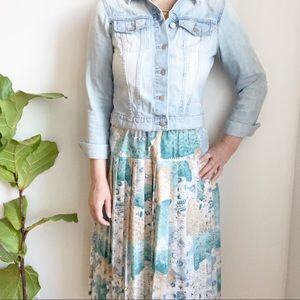 Vintage Midi Floral Print Pleated Skirt 8